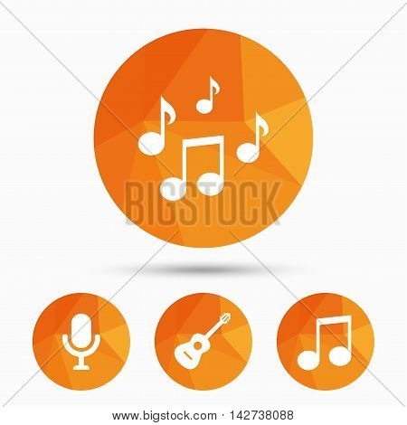 Music icons. Microphone karaoke symbol. Music notes and acoustic guitar signs. Triangular low poly buttons with shadow. Vector