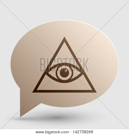 All seeing eye pyramid symbol. Freemason and spiritual. Brown gradient icon on bubble with shadow.