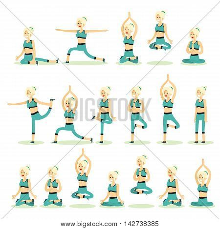 Women posing pose yoga. Set characters girls exercises yoga, isolated on white background. People banner healthy lifestyle vector illustration