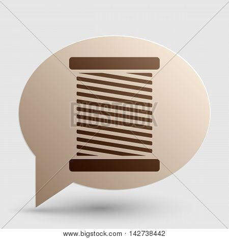 Thread sign illustration. Brown gradient icon on bubble with shadow.