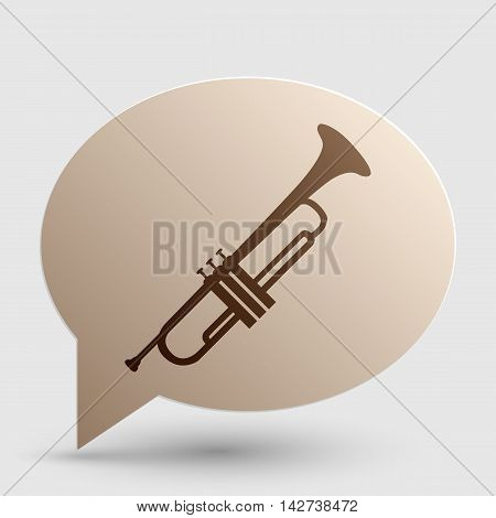 Musical instrument Trumpet sign. Brown gradient icon on bubble with shadow.
