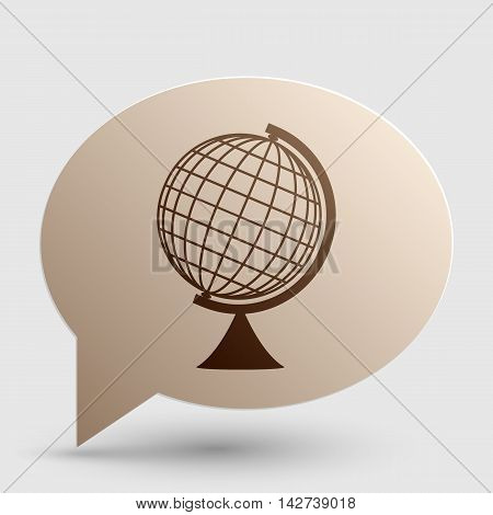 Earth Globe sign. Brown gradient icon on bubble with shadow.