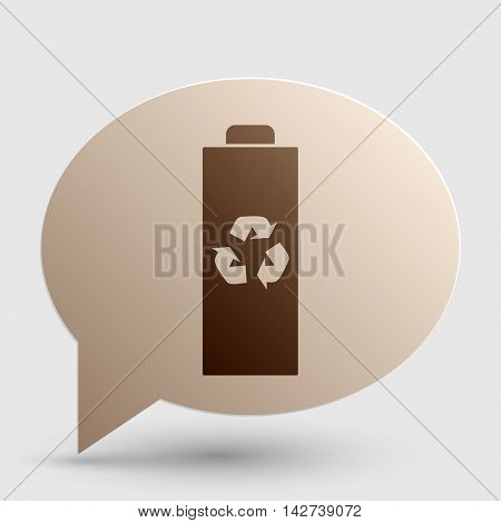 Battery recycle sign illustration. Brown gradient icon on bubble with shadow.