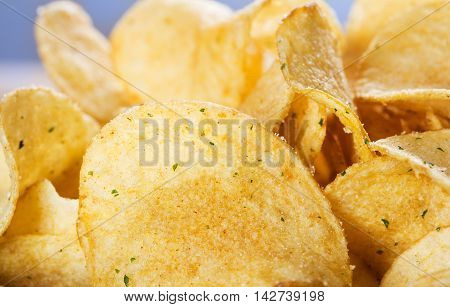 close-up view of heap of potato chips