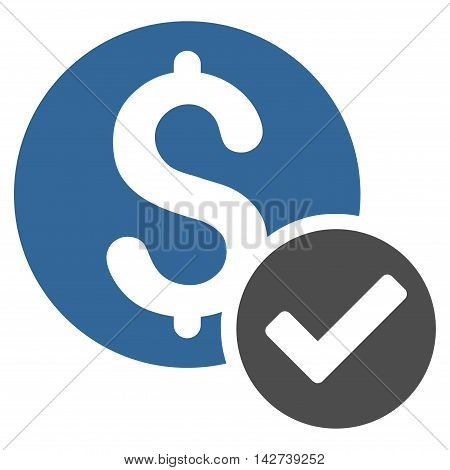 Approved Payment icon. Vector style is bicolor flat iconic symbol with rounded angles, cobalt and gray colors, white background.