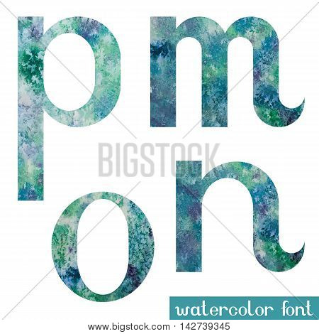 Colorful green-blue watercolor paint alphabet letters M, N, O, P - vector Illustration