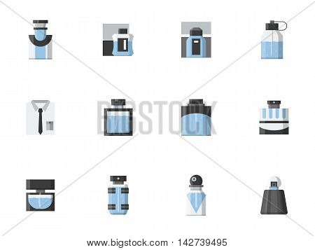 Perfume for men. Different shapes of blue bottles and vials. Mens fragrances shop, male fashion. Set of flat color style vector icons.