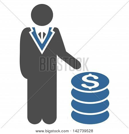 Businessman icon. Vector style is bicolor flat iconic symbol with rounded angles, cobalt and gray colors, white background.