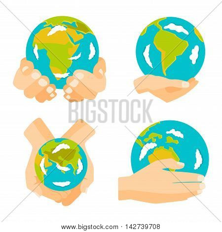 People holding earth. globe in hands concept of happy earth day eco friendly, help ecology, future life, natural. Earth in hands isolated on black background modern design vector conept