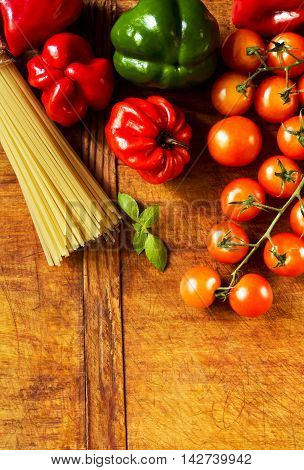 Collection with vegetables and pasta before cooking