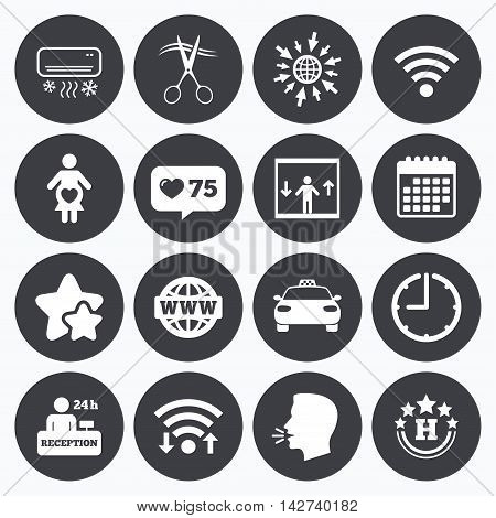 Calendar, wifi and clock symbols. Like counter, stars symbols. Hotel, apartment service icons. Barbershop sign. Pregnant woman, wireless internet and air conditioning symbols. Talking head, go to web symbols. Vector