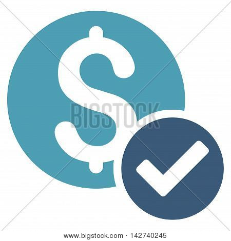 Approved Payment icon. Vector style is bicolor flat iconic symbol with rounded angles, cyan and blue colors, white background.
