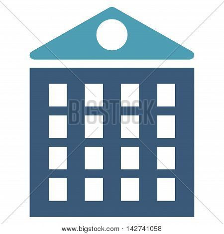Multi-Storey House icon. Vector style is bicolor flat iconic symbol with rounded angles, cyan and blue colors, white background.