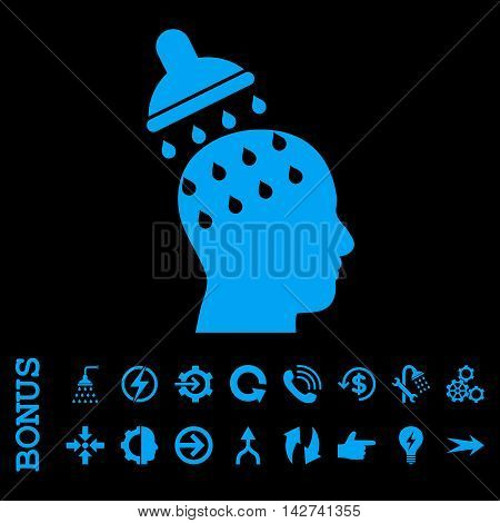 Brain Washing vector icon. Image style is a flat iconic symbol, blue color, black background.