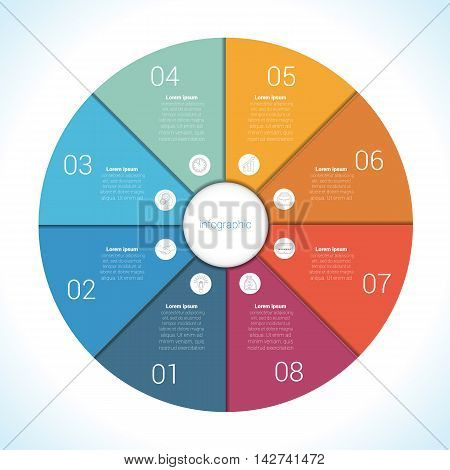 Elements For Template infographic eight position steps parts with text area colourful in the form of flower petals. Pie chart diagram data.