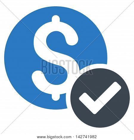 Approved Payment icon. Vector style is bicolor flat iconic symbol with rounded angles, smooth blue colors, white background.