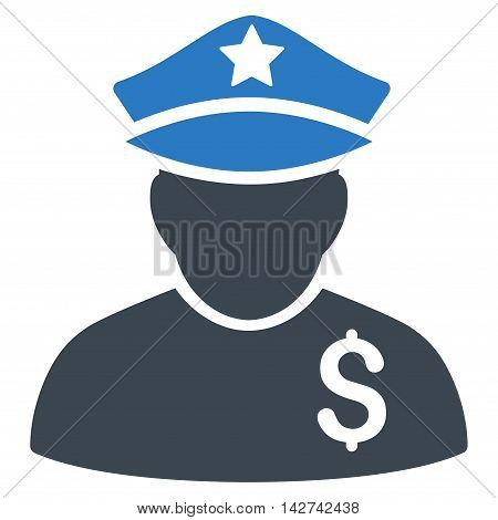 Financial Policeman icon. Vector style is bicolor flat iconic symbol with rounded angles, smooth blue colors, white background.