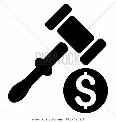 Auction icon. Vector style is flat iconic symbol with rounded angles, black color, white background.