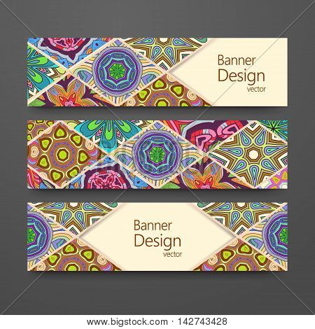 Colorful ornamental ethnic banner set. Headline template abstract patchwork pattern vector design editable. Islam Arabic Indian ottoman. Mandala motifs.