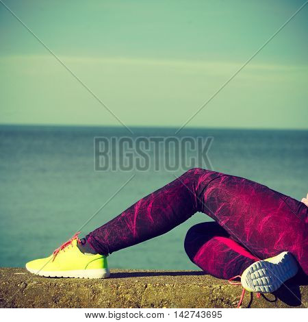 Woman Resting After Doing Sports Outdoors