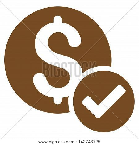 Approved Payment icon. Vector style is flat iconic symbol with rounded angles, brown color, white background.