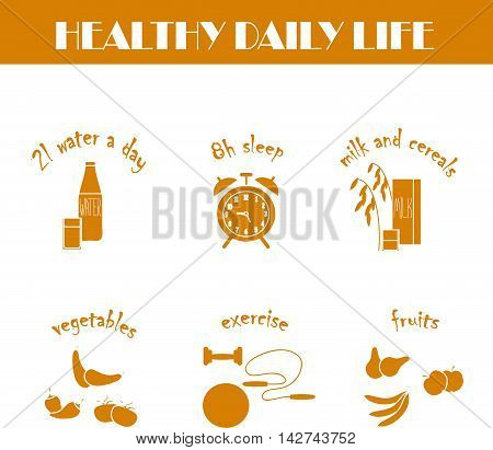Healthy daily life modern orange flat hand drawn icons on white, vector illustration