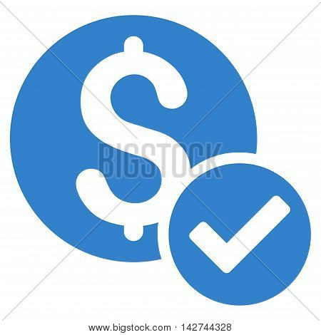 Approved Payment icon. Vector style is flat iconic symbol with rounded angles, cobalt color, white background.