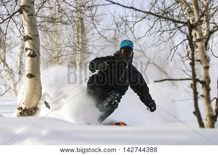 Freeride run in Siberian forest, powder run