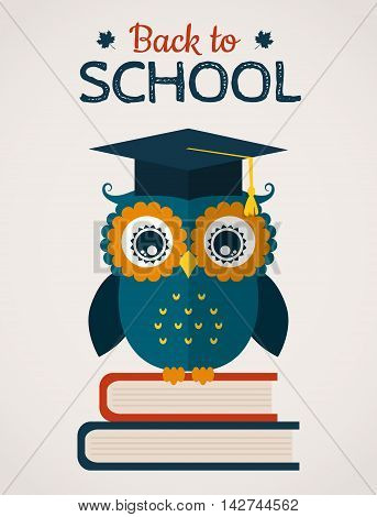 Back to school card. Wise owl in graduate cap sitting on the books. Flat design. Vector illustration.