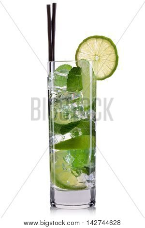 Mojito cocktail in highball glass isolated on white background.