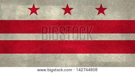 Flag of Washington D.C with distressed marbled stone textures