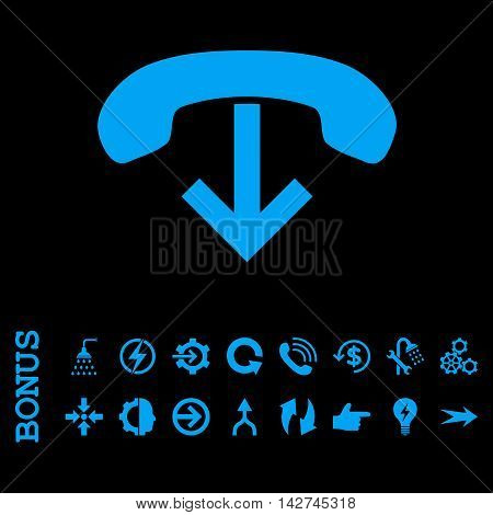 Phone Hang Up vector icon. Image style is a flat pictogram symbol, blue color, black background.