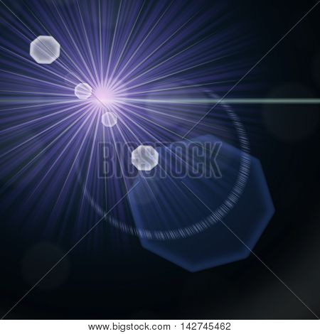 The bright and blue rays radiating from a small star.
