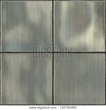 Four square metal tile, matte processing.
