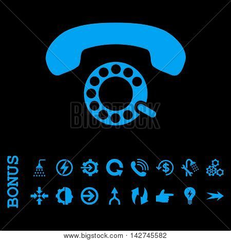 Pulse Dialing vector icon. Image style is a flat pictogram symbol, blue color, black background.