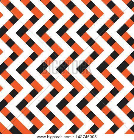 Orange, Black and White Zig Zag Lines Pattern - Background Design