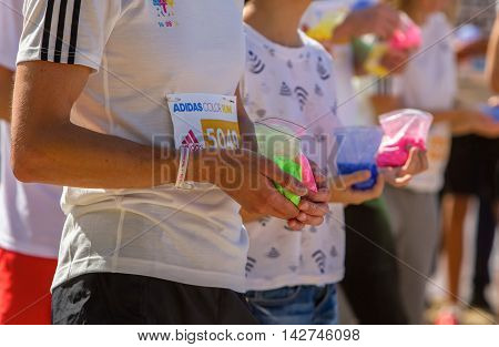 Kyiv, Ukraine, - Augus 14,2016. Kyiv color run. Run 5 km from the colors of Holi. Participants of the race