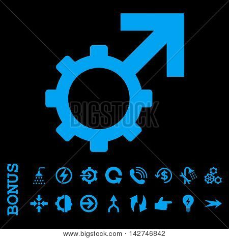 Technological Potence vector icon. Image style is a flat pictogram symbol, blue color, black background.