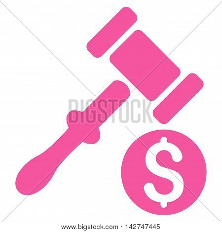 Auction icon. Vector style is flat iconic symbol with rounded angles, pink color, white background.