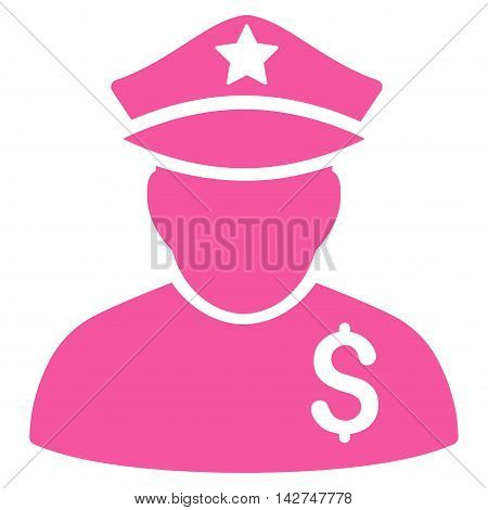 Financial Policeman icon. Vector style is flat iconic symbol with rounded angles, pink color, white background.