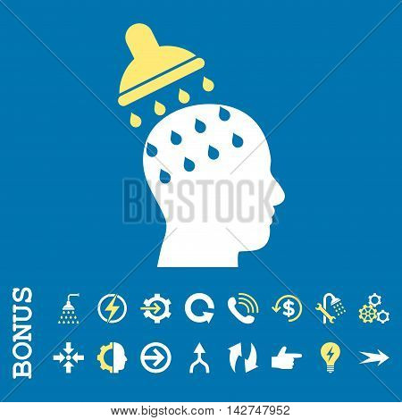 Brain Washing vector bicolor icon. Image style is a flat iconic symbol, yellow and white colors, blue background.