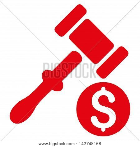 Auction icon. Vector style is flat iconic symbol with rounded angles, red color, white background.