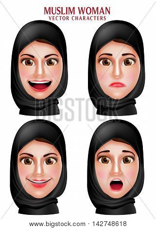 Muslim woman vector characters set of head wearing hijab or head scarf with facial expression isolated in white background. Vector illustration