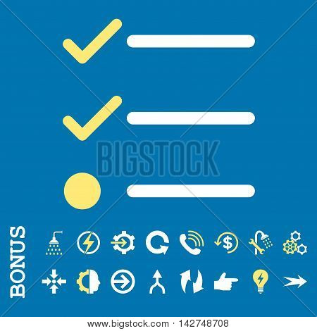 Checklist vector bicolor icon. Image style is a flat iconic symbol, yellow and white colors, blue background.