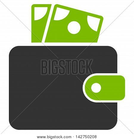 Wallet icon. Glyph style is bicolor flat iconic symbol with rounded angles, eco green and gray colors, white background.