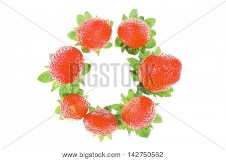 fresh ripe pink strawberry isolated on white background