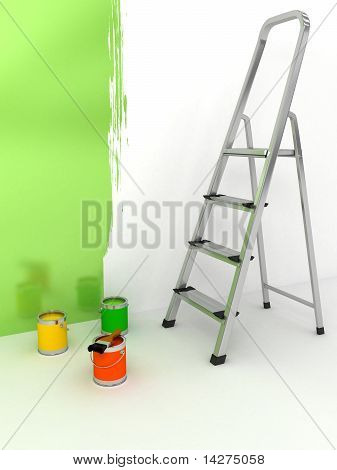 Open Staircase With Color Over White Background
