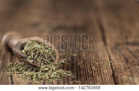 Old Wooden Table With Dried Stevia Leaves (selective Focus)