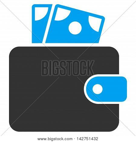 Wallet icon. Vector style is bicolor flat iconic symbol with rounded angles, blue and gray colors, white background.