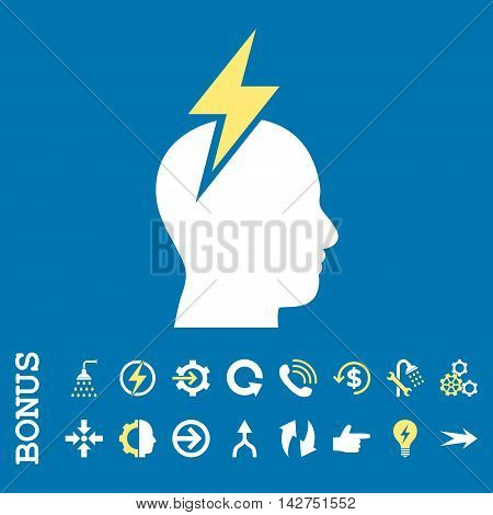 Headache vector bicolor icon. Image style is a flat iconic symbol, yellow and white colors, blue background.
